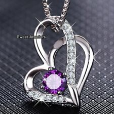 GIFTS FOR HER Amethyst Purple Crystal Heart Necklace Xmas Wife Women I Love You