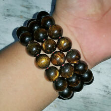 Sparkling 14 MM Indonesian Sea Willow Bracelet Genuine Black Coral 16 Beads