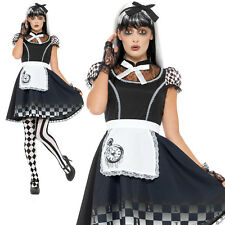 Gothic Alice Costume Halloween Fairytale Adult Womens Ladies Fancy Dress Outfit