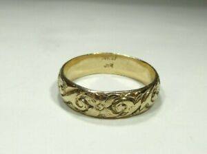 VINTAGE 14k GOLD FILLED EMBOSSED 6mm MENS BAND RING SIZE 12.5 MARKED JTR