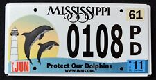 "MISSISSIPPI "" LIGHTHOUSE -  WILDLIFE DOLPHINS FISH "" MS Specialty License Plate"