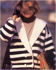 Ladies Chunky Sailor Collar Striped Double-breastd Jacket Knitting Pattern 10148