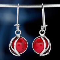 Koralle Silber 925 Ohrringe Damen Schmuck Sterlingsilber H561