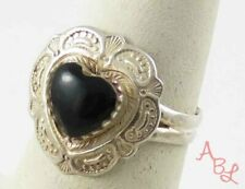 Sterling Silver Vintage 925 Victorian Heart Solitaire Onyx Ring Sz 6 (3.3g)