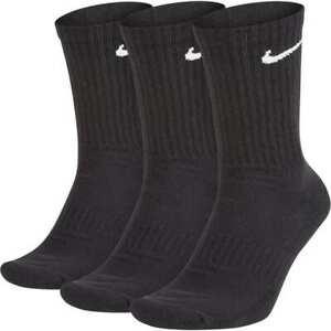 Nike Everyday Cushioned Training Crew Socks 3 Pair Mens Black Multi Size Casual