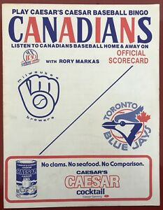 1984 official scorecard Toronto Blue Jays vs. Milwaukee Brewers in Vancouver