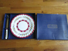 "Crown Staffordshire England Serving Dish 10 3/8"" & Matching Knife 10 3/8"" W Box"