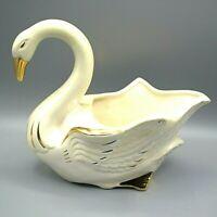Swan Ceramic Planter MCM Vintage Gold White Mother of Pearl Stanfordware