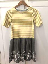 Girls Mini Boden Lined Mustard striped dress size 11/12