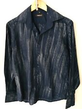 RG 512 men's M blue with tan streaks stripes button down shirt