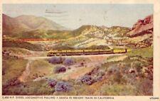 Santa Fe Railway 5,400 H.P. Diesel Locomotive Pulling Freight Train In Cal 1944