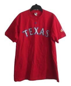 Michael Young Texas Rangers  Red #10 T-shirt 2011 World Series Men's Sz Large