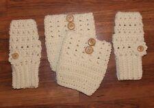 Handmade Crochet Set Cream Off White Fingerless Gloves Hand Warmers & Boot Cuffs