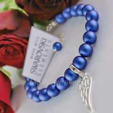 925 Silver Wing Bracelet PEARL Iridescent Dark Blue Crystals From Swarovski®