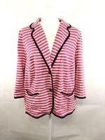 Talbots Women's Blazer Jacket Career Pink/White Stripe Navy Size 2X Petite