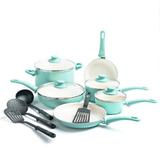 Healthy Ceramic Nonstick Cookware Set Kitchen Pots and Pans 14 Piece Turquoise