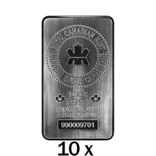 100 oz | 10 x 10 oz Silver Bar - Royal Canadian Mint - RCM - .9999 Ag