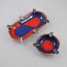 2 Kupfer Aschenbecher - Emaille - Email - emailiert - Vintage Copper Ashtrays