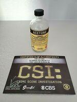 CSI 🧴 CRIME SCENE INVESTIGATION 🧴 SCREEN USED CBS PROP - ACETONE BOTTLE w/ COA