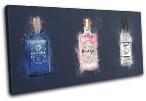 Gin Navy Drink Bar Food Kitchen SINGLE CANVAS WALL ART Picture Print