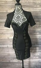 Vintage Wild West by Marcello Sexy 80s Dress Club Bodycon Black Bustier Size 1