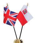 United Kingdom UK & Poland Eagle Double Friendship Table Flag Set