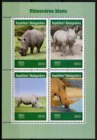 Madagascar 2019 CTO White Rhinos Rhinoceros 4v M/S Wild Animals Stamps
