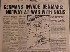 VINTAGE NEWSPAPER HEADLINE~GERMAN ARMY NAZIS INVADE DENMARK WORLD WAR WWII