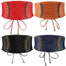 Women Ladies Slim Dress Waist Wide Belt Corset Stretch Elastic Beaded Waistband