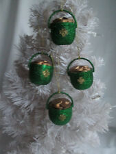 Pkg. of 4 Dark Green Glitter Pot of Gold St. Patrick's Day Irish Ornaments