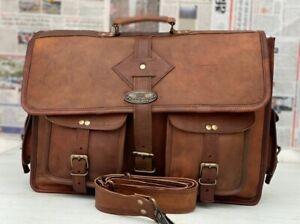 "18"" Men's Leather Messenger Shoulder Bag All Laptop Briefcase Multi-Purpose Use"