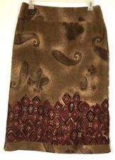 REQUIREMENTS Womens Brown Copper Rust Paisley Micro Suede Skirt Sz 14 EUC