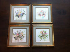 Celia Russel Florial paintings set of four framed water colours garden flowers