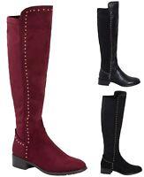 Ladies Over The Knee Flat Low Heel Stud Zip High Boots Shoes UK Size