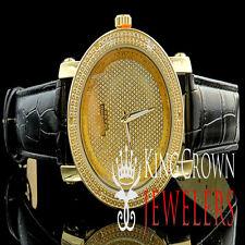 Mens Genuine Diamond Jo Rodeo Jojo jojino Yellow Gold Finish Leather Band Watch