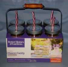 NEW Better Homes & Gardens Lot 6 Mason Jars/Glasses/Straws & Galvanized Caddy!