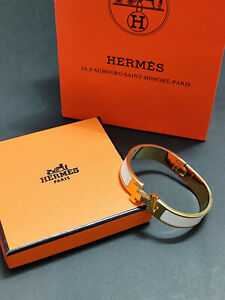 W/Box HERMES Enamel Bracelet Classic Clic Clac H Bangle White PM
