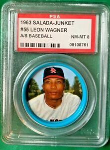 1963 Salada coin Leon Wagner #55 PSA 8 Los Angeles Angels