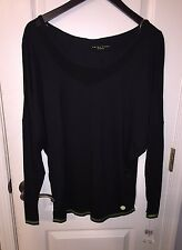 NWT $98 Trina Turk Recreation Black Modal Mesh Long Sleeve Shirt Top Women's M