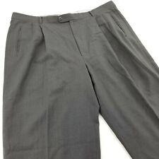 ZANELLA ITALY WOOL DRESS PANTS 40X31 Dark Gray Pleated Cuffed Duncan Soft EUC