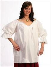 RENAISSANCE COSTUME BLOUSE MEDIEVAL PIRATE CIVIL WAR WHITE COTTON CHEMISE  #C42