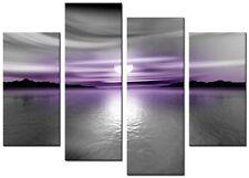 4 panneau total 98x78cm Toile Mur Art impressions de qualité l'art numérique violet talc