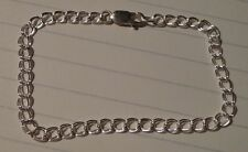"7"" inch Sterling Silver Double Link 4 mm Charm Bracelet"