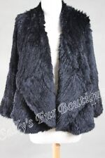NEW 100% RABBIT FUR DRAPE FRONT LONG SLEEVE JACKET BLACK Size S, M, L