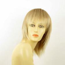 Perruque femme mi-longue blond clair cuivré méché blond clair FANIE 27t613