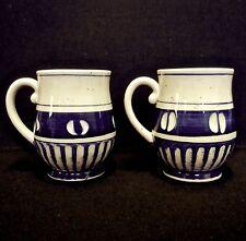 2 Lot Vintage Japan Stoneware Mugs Carved Side Details 10 oz Blue Beige 4 in H