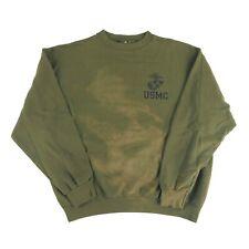 Vintage 90s Fits Large Crewneck Sweatshirt USMC Marines Sun Fade Grunge Green