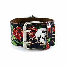 Nemesis Punk Style Tattoo Inspired Rose Skull Print Leather Cuff Band Vintage