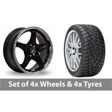 "4 x 15"" Samurai D1-R Black Polished Lip Alloy Wheel Rims and Tyres -  195/55/15"