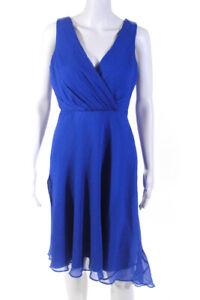 J Crew Womens Silk V Neck Knee Length Sleeveless A Line Dress Blue Size 4